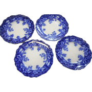 Four Four english flo blue 7 1/4 inch plates 3 are great one has small flea bite