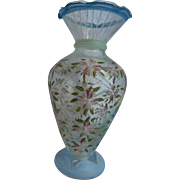 Vintag bohemianclear art glass 4 inch vase hand painted