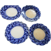 Four circa 1890 flow blue plates