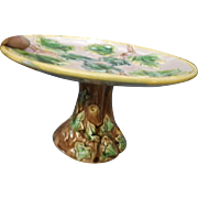 Circa 1920 signed Majolica elevated cake stand green yellow brown