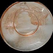 Vintage depression era pink engraved 10 inch plate gold rim