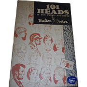 1930 40s 191 heads in Pen Pencil and Brush by Walter Foster large publication