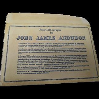 Four Lithographs by John James Audubon  New York Historical Society
