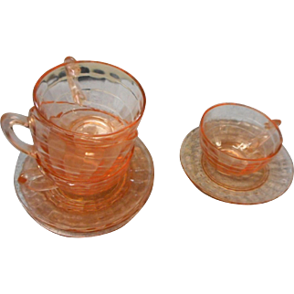 Four vintage depression era pink  block optic cup and saucers