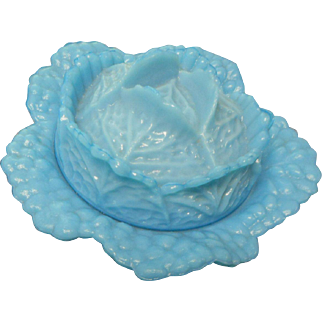Vallerysthal  Portieux opague blue cabbage covered candy dish mint condition