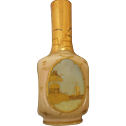 Circa 1880 Peach Satin gilded 9 inch vase Victorian era 4 sceneshand painted