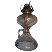 Circa 1890 finger held oil  lamp   engraved bottom rim