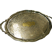 Vintage quite heavy Oneida silver plate 4 footed oval tray with 2 handles