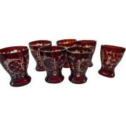 Seven vintage cut to clear ruby etched juice glasses
