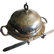Circa 1890 Pairpoint silverplate covered butter dish with knife.