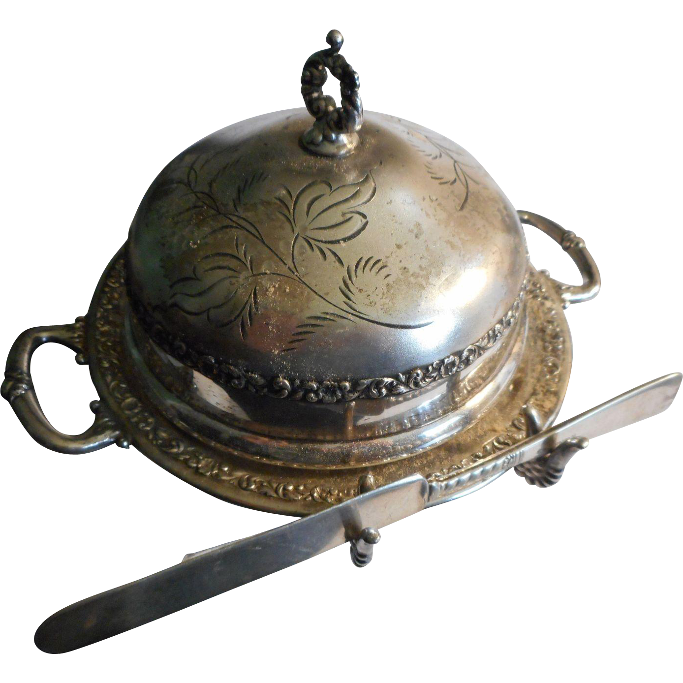 circa pairpoint silverplate covered butter dish with knife