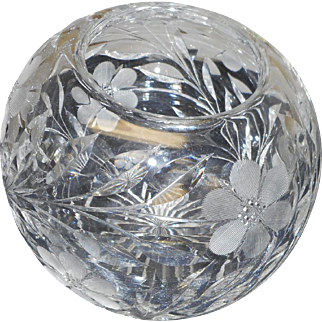 Vintage cut glass round rose bowl