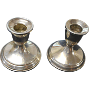 Pair of vintage sterling silver weighted candlesticks