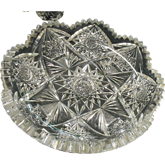 Circa 1890 american brilliant period shallow cut glass dish hard to find