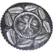 Circa 1890 american brilliant period cut glass plate with leaf design