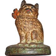 Circa 1900 cast iron door stop cat 8 inches tall