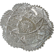 Cieca 1900 cut glass round dish from american brilliant perid