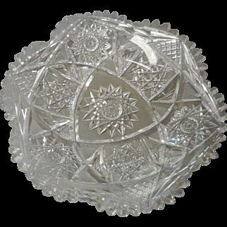Cieca 1900 cut glass round dish from american brilliant perid
