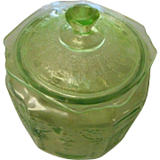 Depression era green biscut cookie jar with lid  swag curtain pattern