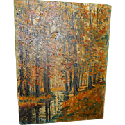 Vintage oil on canvas unframed forest scene  9 x 12 inches listed new england artist signed