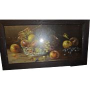Circa 1890 victorian fruit lithograph with quarter saw oak frame