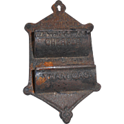 Circa 1900 cast ieon match safe for waall