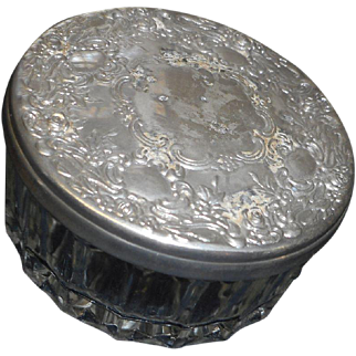 Circa 1900 victorian era powder jar silver plate cover with mirror