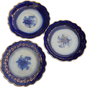 Three 6 inch Flow Blue plates circa 1920 6 inches across