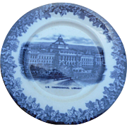 Circa 1910 Blue Transfer Ware 9 inch souveneir plate of U. s  Congressional library
