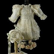 "HANDMADE FROM PARIS, Antique Organdy & Lace Dress/Slip/Bonnet for 20-21"" Bebe"