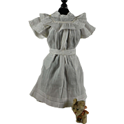 "Pretty Antique Vanilla Linen Pinafore for 21-22"" Bebe"