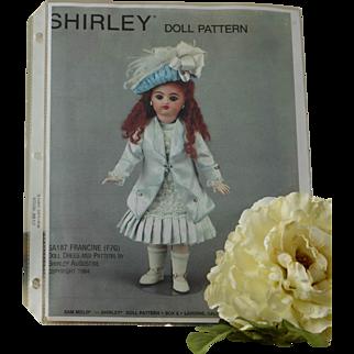 "Doll Dress, Jacket, Slip, Drawers, Hat Pattern for 16"" Bebe"