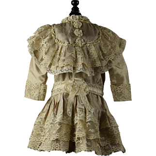 Delicious Silk & Lace Dress for Larger Bru, Jumeau, Steiner, Gaultier
