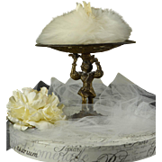 Wonderful Decorative Pedestal with Pretty Lambswool Powder Puff for Ladies Boudoir