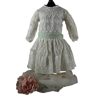 Absolutely Gorgeous Broderie Anglaise Dress for Bru, Jumeau, Steiner, Gaultier