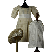 "Pretty Creme Silk Dress, Chemisette and Bonnet for 26"" Jumeau, Bru, Gaultier, Eden Bebe"