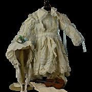 """Beautiful Taffeta Dress/Capelet and Bonnet To Fit 23"""" Bru, Jumeau, Steiner, Gaultier, Eden"""