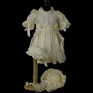 "Wonderful Antique White Work Muslin Dress, Petticoat and Bonnet for 23"" Jumeau, Bru, Eden, Gaultier"