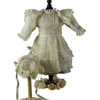 "HANDMADE FROM PARIS, Antique Organdy & Lace Dress/Slip/Bonnet for 20-21"" Bru, Jumeau, Gaultier, Steiner, Eden"