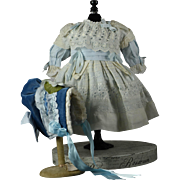 """Beautiful White Cotton Dress and Bonnet for 22-23"""" French/German Bebe"""
