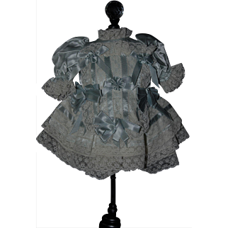 Pretty Lace Dress with French Blue Satin Ribbon