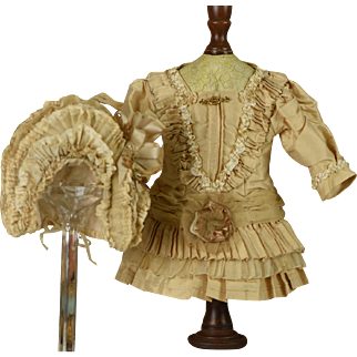 "ABSOLUTELY GORGEOUS Silk Dress, Bonnet and Slip for 18""-19"" Bebe"