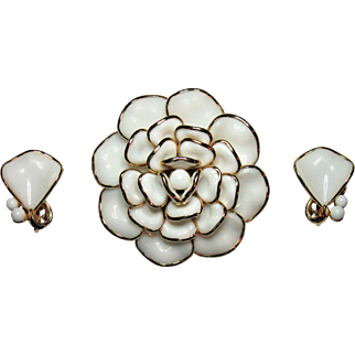 Trifari Camellia brooch and earrings