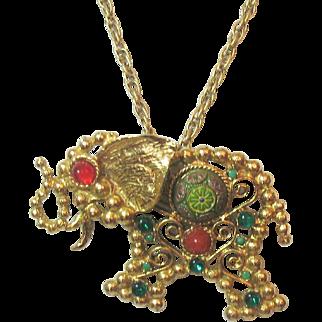 D&E Juliana Moroccan Matrix Elephant Necklace/Brooch