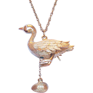 "Signed Hattie Carnegie ""Goose That Laid the Golden Egg"" Necklace"