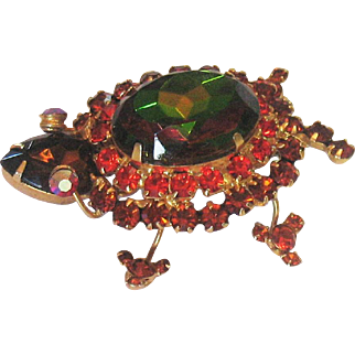 D&E Juliana Watermelon Turtle Brooch/Pin