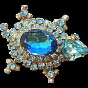 D&E Juliana Blue  Rhinestone Turtle Brooch/Pin