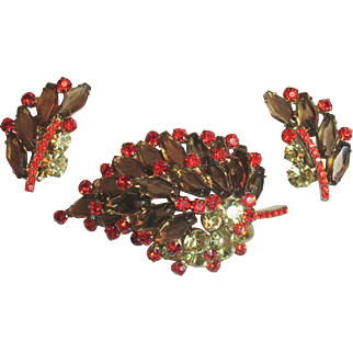 D&E Juliana Layered Leaf Pin and Earring Set in Bold Autumn Colors
