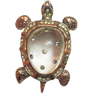Signed CORO 1945 Sterling Vermeil Jelly Belly Turtle Clip