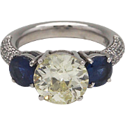 Lady's Single Diamond and Sapphire Ring